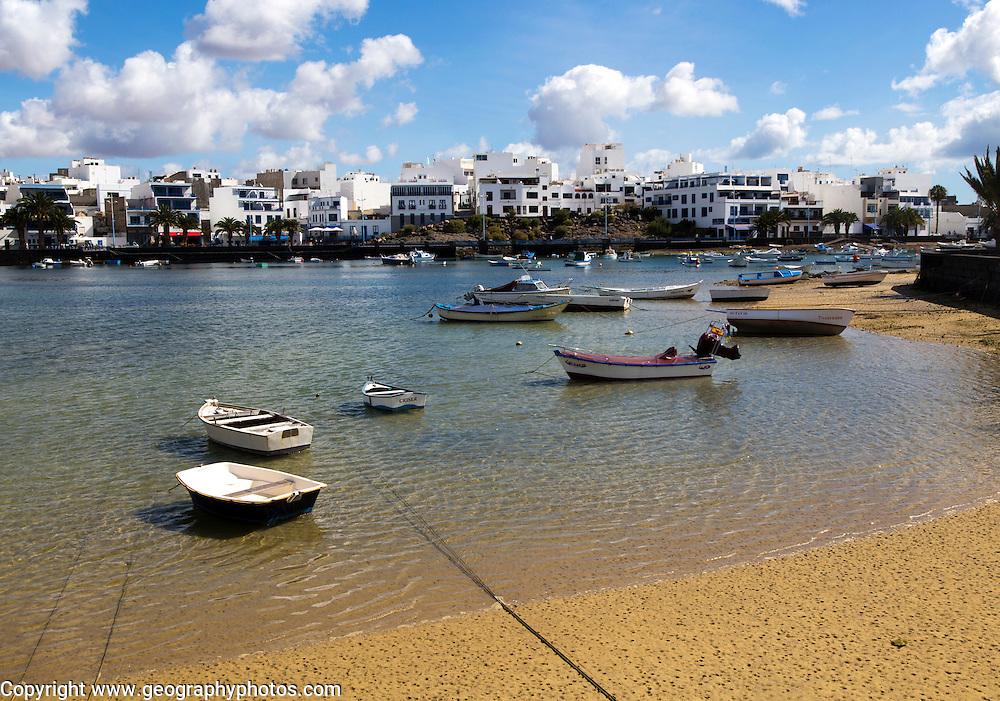 Boats in the harbour Charco de San Ginés, Arrecife, Lanzarote, Canary Islands, Spain