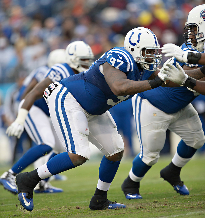 NASHVILLE, TN - DECEMBER 28:  Arthur Jones #97 of the Indianapolis Colts at the line of scrimmage during the first quarter of a game against the Tennessee Titans at LP Field on December 28, 2014 in Nashville, Tennessee.  The Colts defeated the Titans 27-10.  (Photo by Wesley Hitt/Getty Images) *** Local Caption *** Arthur Jones