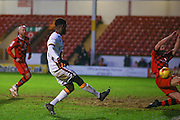 Bradford City forward, on loan from Huddersfield Town, Jordy Hiwula (11) scores a goal  to make the score 1-1 during the EFL Sky Bet League 1 match between Walsall and Bradford City at the Banks's Stadium, Walsall, England on 17 December 2016. Photo by Simon Davies.