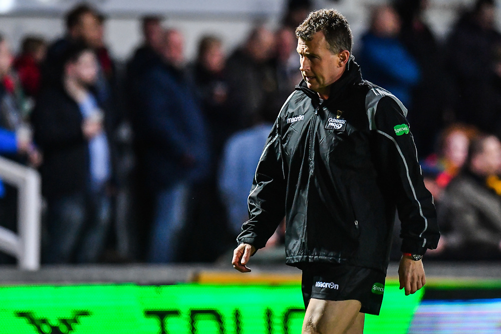 Referee Nigel Owens during the pre match warm up<br /> <br /> Photographer Craig Thomas/Replay Images<br /> <br /> Guinness PRO14 Round 18 - Dragons v Cheetahs - Friday 23rd March 2018 - Rodney Parade - Newport<br /> <br /> World Copyright © Replay Images . All rights reserved. info@replayimages.co.uk - http://replayimages.co.uk