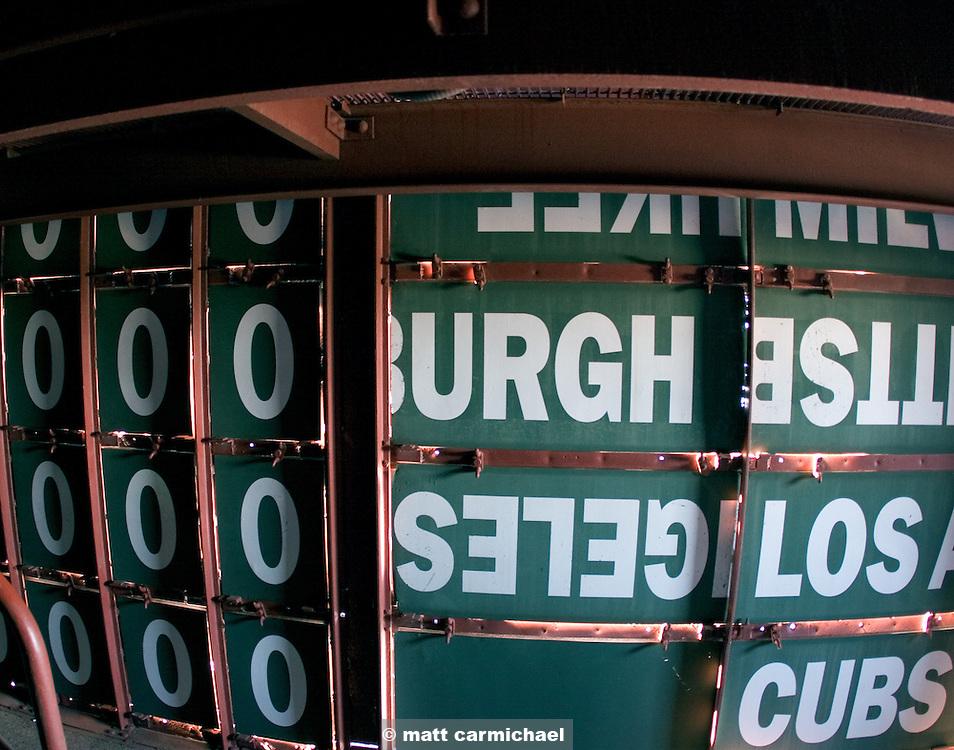 Inside the scoreboard at Wrigley Field.
