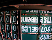 Inside the scoreboard at Wrigley Field.