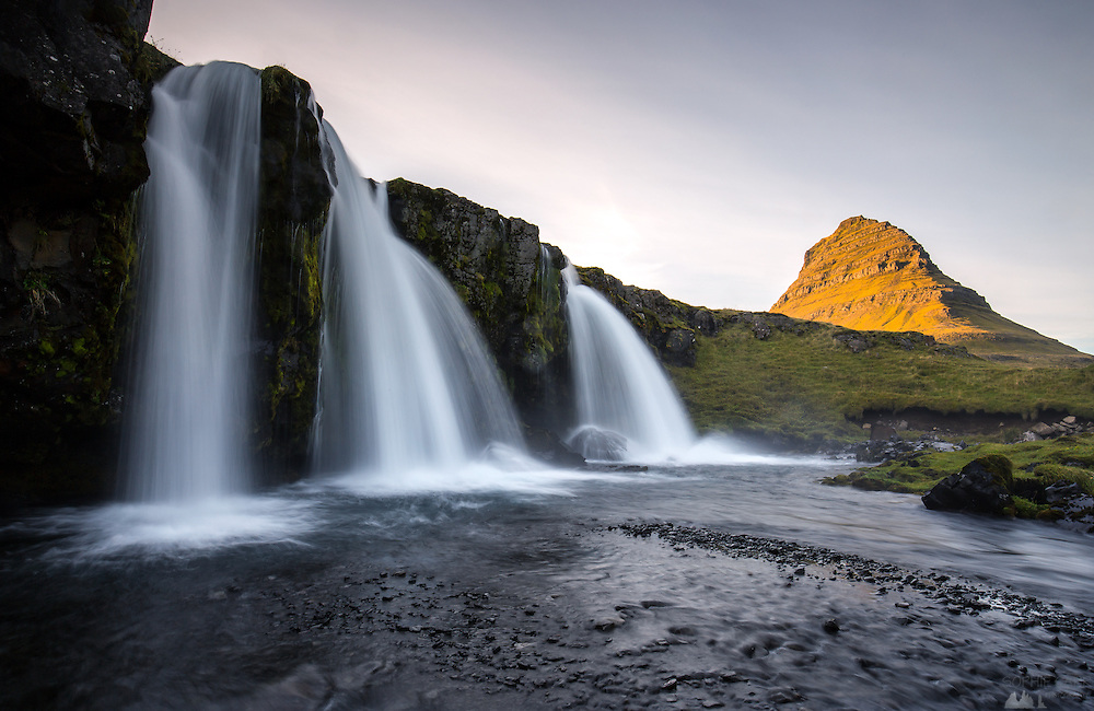 The falls near Kirkjufell at sunset, on Snaefellsnes Peninsular