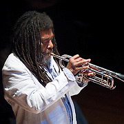 "December 16, 2011 - Brooklyn, NY : Wadada Leo Smith, on trumpet, leads his ""Silver Orchestra"" (not pictured) as they perform during a concert in celebration of Leo's 70th birthday at Roulette in Brooklyn on Friday night. CREDIT: Karsten Moran for The New York Times"