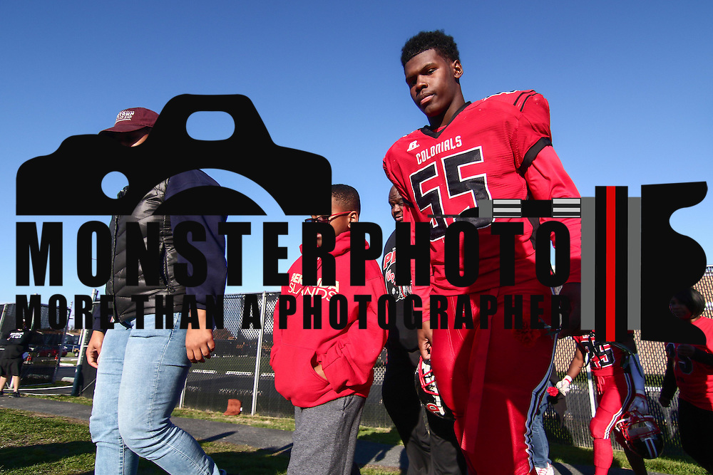 William Penn tackle Charles Hope (55) walks onto the field  for senior day during a Week 9 DIAA football game between William Penn and Charter School of Wilmington Saturday, Nov. 05, 2016, at William Penn Stadium in New Castle.