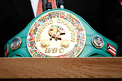 September 10, 2009; Bronx, NY; USA; The WBC's Diamond Championship belt on display at the press conference at Yankee Stadium for the November 14, 2009 fight between Manny Pacquiao and Miguel Cotto.  The two will meet at the MGM Grand Garden Arena in Las Vegas, NV.