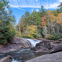 Turtleback Falls, fall foliage and interesting clouds make for a great photo in the Pisgah National Forest, North Carolina