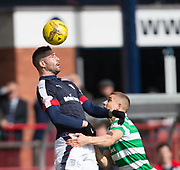 Dundee&rsquo;s Marcus Haber rises above Celtic&rsquo;s Jozo Simunovic - Dundee v Celtic in the Ladbrokes Scottish Premiership at Dens Park, Dundee.Photo: David Young<br /> <br />  - &copy; David Young - www.davidyoungphoto.co.uk - email: davidyoungphoto@gmail.com