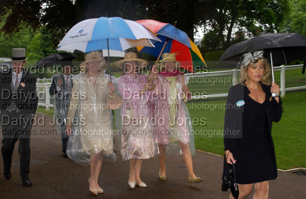 Mrs. David Overy-Owen, Mrs. William Averdieck and Miss Belinda Sheppard. Royal Ascot Race meeting Ascot at York. Wednesday, 15 June 2005. ONE TIME USE ONLY - DO NOT ARCHIVE  © Copyright Photograph by Dafydd Jones 66 Stockwell Park Rd. London SW9 0DA Tel 020 7733 0108 www.dafjones.com