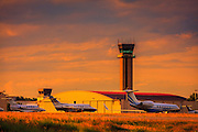 Control tower in the late afternoon light at Atlanta's Dekalb Peachtree Airport (PDK).  Created by aviation photographer John Slemp of Aerographs Aviation Photography. Clients include Goodyear Aviation Tires, Phillips 66 Aviation Fuels, Smithsonian Air & Space magazine, and The Lindbergh Foundation.  Specialising in high end commercial aviation photography and the supply of aviation stock photography for commercial and marketing use.