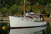 Classic launch owned by Tony Rae (Trae) on a mooring at Kauwau Island. 3/11/2006