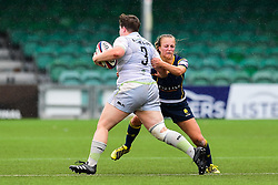 Hannah Botterman of Saracens Ladies is tackled by Jaz Clarke of Worcester Valkyries  - Mandatory by-line: Craig Thomas/JMP - 30/09/2017 - RUGBY - Sixways Stadium - Worcester, England - Worcester Valkyries v Saracens Women - Tyrrells Premier 15s