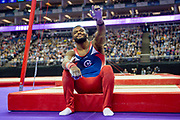 Courtney Tulloch of Great Britain before his rings routine during the The Superstars of Gymnastics event at the O2 Arena, London, United Kingdom on 23 March 2019.
