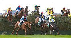 LIVERPOOL, ENGLAND - Friday, April 9, 2010: Horses jump Becher's Brook during the second day of the Grand National Festival at Aintree Racecourse. (Pic by David Rawcliffe/Propaganda)
