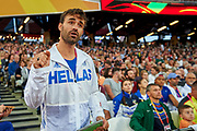 Great Britain, London - 2017 August 06: Trainer - coach of Ekaterini Stefanidi from Greece gestures while women&rsquo;s pole vault final  during IAAF World Championships London 2017 Day 3 at London Stadium on August 06, 2017 in London, Great Britain.<br /> <br /> Mandatory credit:<br /> Photo by &copy; Adam Nurkiewicz<br /> <br /> Adam Nurkiewicz declares that he has no rights to the image of people at the photographs of his authorship.<br /> <br /> Picture also available in RAW (NEF) or TIFF format on special request.<br /> <br /> Any editorial, commercial or promotional use requires written permission from the author of image.