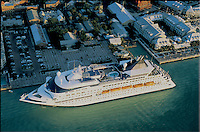 Aerial view of a Norwegian  cruise ship docked at Mallory Square in Key West at sunset