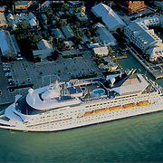 Aerial Photograph of a Norwegian  cruise ship docked at Mallory Square in Key West at sunset