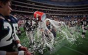Toronto Argonauts coach Don Matthews is doused with water after getting his 148 win as a head coach in the Canadian Football League in Toronto, Ont. (1997)