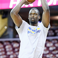 08 June 2016: Golden State Warriors forward Harrison Barnes (40) warms up prior to the Cleveland Cavaliers 120-90 victory over the Golden State Warriors, during Game Three of the 2016 NBA Finals at the Quicken Loans Arena, Cleveland, Ohio, USA.