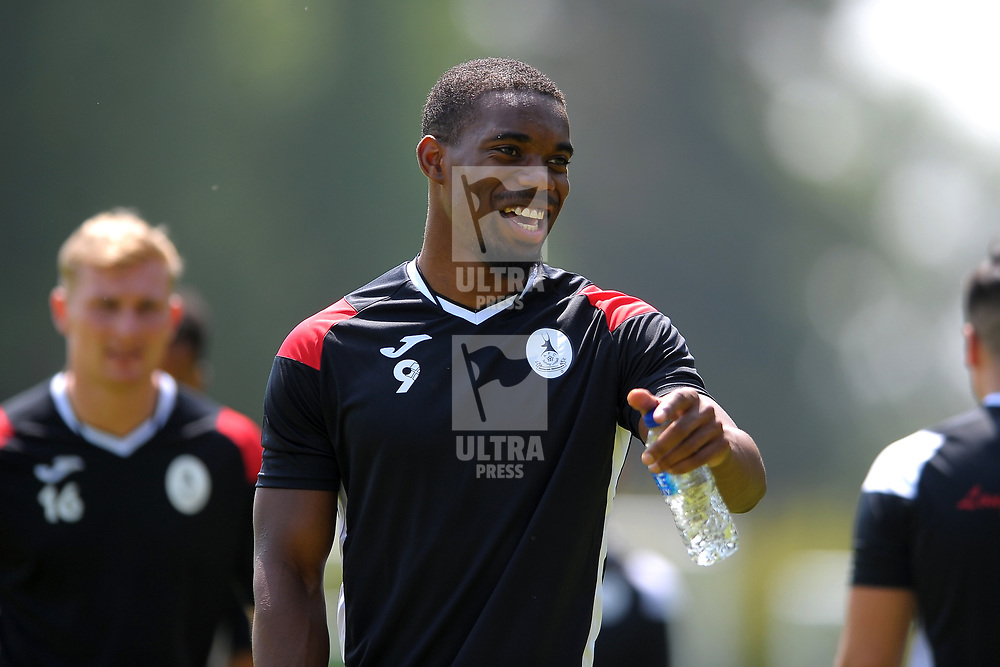 Andre Brown grabs a bottle of water in soaring temperatures as AFC Telford United return to pre-season as training at Lilleshall National Sports Centre on Saturday, June 29, 2019.<br /> <br /> Free for editorial use only<br /> Picture credit: Mike Sheridan/Ultrapress<br /> <br /> MS201920-003