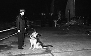 Policeman with a police dog shutting down an illegal rave, UK, 1980s