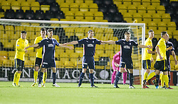 Falkirk's Kieran Duffie, Falkirk's David McCracken and Falkirk's Peter Grant hold the line. <br /> Livingston 0 v 1 Falkirk, Scottish Championship played13/12/2014 at The Energy Assets Arena.