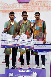 December 16, 2018 - Kolkata, West Bengal, India - Overall India elite athlete men final Avinash Sable (middle) 1:17:11, Srinu Bugatha (left) 1:17:18 and Abhishek Pal (right) got the top position in Tata Steel Kolkata 25K 218. (Credit Image: © Saikat Paul/Pacific Press via ZUMA Wire)