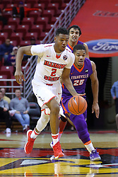 29 December 2016:  Duane Givson coming up behind DJ Clayton(2) during an NCAA  MVC (Missouri Valley conference) mens basketball game between the Evansville Purple Aces the Illinois State Redbirds in  Redbird Arena, Normal IL