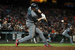 SAN FRANCISCO, CA - SEPTEMBER 15: A.J. Pollock #11 of the Arizona Diamondbacks hits a two run double against the San Francisco Giants during the seventh inning at AT&T Park on September 15, 2017 in San Francisco, California. The Arizona Diamondbacks defeated the San Francisco Giants 3-2. (Photo by Jason O. Watson/Getty Images) *** Local Caption *** A.J. Pollock