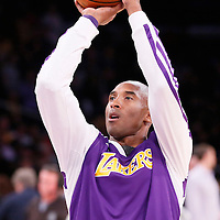 08 December 2013: Los Angeles Lakers shooting guard Kobe Bryant (24) warms up prior to the Toronto Raptors 106-94 victory over the Los Angeles Lakers at the Staples Center, Los Angeles, California, USA.
