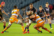 Viliame Mata (#8) of Edinburgh Rugby charges at the Cheetahs defence during the Guinness Pro 14 2018_19 match between Edinburgh Rugby and Toyota Cheetahs at BT Murrayfield Stadium, Edinburgh, Scotland on 5 October 2018.