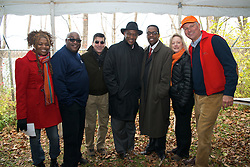 L-R:  Rep. Dwight Evans, Council President Darrell Clarke.  With a ceremonial singing of the lease Philadelphia Outward Bound School and Audubon Pennsylvania kick of the Discovery Center project in the East Fairmount Park section of the city. (Bas Slabbers/for Philadelphia Outward Bound School)
