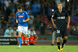 August 16, 2017 - Naples, Campania, Italy - Jorginho celebrating after the penalty of 2-0  during the UEFA Champions League Play Off first leg football match SSC Napoli vs OCG Nice, on August 16 2017 at the San Paolo Stadium. (Credit Image: © Matteo Ciambelli/NurPhoto via ZUMA Press)