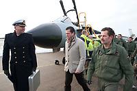 """30 NOV 2010, JAGEL/GERMANY:<br /> Karl-Theodor zu Guttenberg (M), CSU, Bundesverteidigungsminister, und Oberst Karsten Stoye (R), Kommodore Aufklaerungsgeschwader 51 """"Immelmann"""", nach der Begruessung der Piloten nach der Rueckkehr der in Afghanistan eingesetzten RECCE TORNADO Aufklaerungsjets, Aufklaerungsgeschwader 51 """"Immelmann"""", Fliegerhorst Jagel<br /> IMAGE: 20101130-01-031<br /> KEYWORDS: Bundeswehr, Armee, Luftwaffe"""