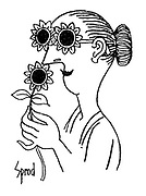 (A woman sniffs a flower that looks the same as her sun glasses)