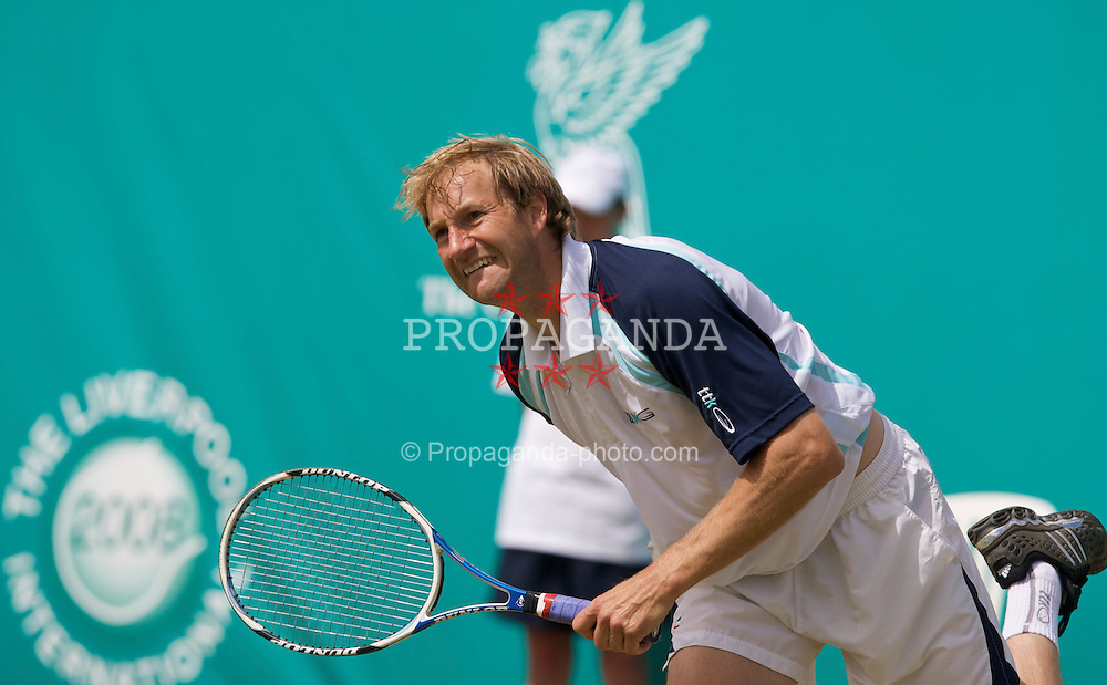 LIVERPOOL, ENGLAND - Wednesday, June 11, 2008: Sebastian Jackson (GBR) in action during the Men's Singles on Day Two of the Tradition-ICAP Liverpool International Tennis Tournament at Calderstones Park. (Photo by David Rawcliffe/Propaganda)