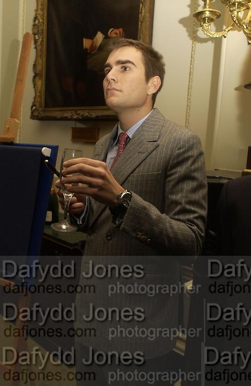 Oscar Humphries, Barbershop: Truefitt & Hill  200th anniversary Bollinger champagne breakfast. Carlton Club, 69 St James's Street, London, SW1, 27 October 2005. October 2005. ONE TIME USE ONLY - DO NOT ARCHIVE © Copyright Photograph by Dafydd Jones 66 Stockwell Park Rd. London SW9 0DA Tel 020 7733 0108 www.dafjones.com