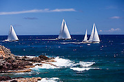 Axia, Kokomo, and Drumbeg sailing in the 2011 St. Barths Bucket Regatta Race 3.