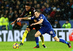 Raheem Sterling of Manchester City takes on Andy King of Leicester City - Mandatory by-line: Robbie Stephenson/JMP - 10/12/2016 - FOOTBALL - King Power Stadium - Leicester, England - Leicester City v Manchester City - Premier League