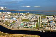 Nederland, Groningen, Delfzijl, 01-05-2013; Industrieterrein Eemsmondgebied met Chemie park. Industrieterrein Chemiepark.nl  huisvest onder andere AkzoNobel (soda, chloor, zout).<br /> Industrial Estate of the Eemsmond area with the Chemical Park that houses  Akzo Nobel (soda, chlorine, salt).<br /> luchtfoto (toeslag op standard tarieven);<br /> aerial photo (additional fee required);<br /> copyright foto/photo Siebe Swart