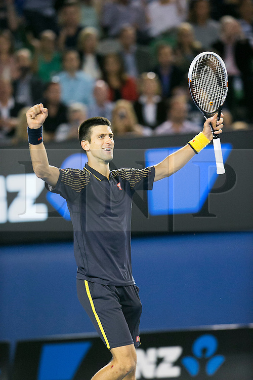 © Licensed to London News Pictures. 27/01/2013. Melbourne Park, Australia. Novak Djokovic celebrates after winning the Australian Open during the Mens Final between Novak Djokovic and Andy Murray of the Australian Open. Photo credit : Asanka Brendon Ratnayake/LNP
