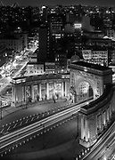 One of the things I really enjoy about NYC is the abundance of architectural variance.<br /> Seen here is the triumphal arch and colonnade entrance to the Manhattan Bridge, on the Manhattan side as seen from the Hotel 50 Bowery NYC.