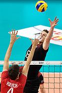 Poland, Krakow - 2017 September 03: Marcus Boehme from Germany spikes against Artem Volvich from Russia while final match between Germany and Russia  during Lotto Eurovolleyball Poland 2017 - European Championships in volleyball at Tauron Arena on September 03, 2017 in Krakow, Poland.<br /> <br /> Mandatory credit:<br /> Photo by © Adam Nurkiewicz<br /> <br /> Adam Nurkiewicz declares that he has no rights to the image of people at the photographs of his authorship.<br /> <br /> Picture also available in RAW (NEF) or TIFF format on special request.<br /> <br /> Any editorial, commercial or promotional use requires written permission from the author of image.