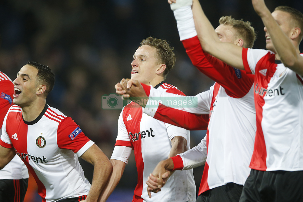 Sofyan Amrabat of Feyenoord, Jens Toornstra of Feyenoord, Nicolai Jorgensen of Feyenoord, Sven van Beek of Feyenoord during the UEFA Champions League group F match between Feyenoord Rotterdam and SSC Napoli at the Kuip on December 06, 2017 in Rotterdam, The Netherlands