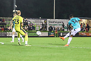 Forest Green Rovers Tahvon Campbell(14) shoots at goal scores a goal 2-0 during the EFL Trophy match between Forest Green Rovers and Cheltenham Town at the New Lawn, Forest Green, United Kingdom on 4 September 2018.