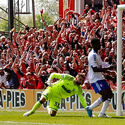 Britt Assombalonga of Nottingham Forest scores his second and forest's third goal during the game between Nottingham Forest v Ipswich Town at the City Ground Nottingham in the SkyBet Championship.