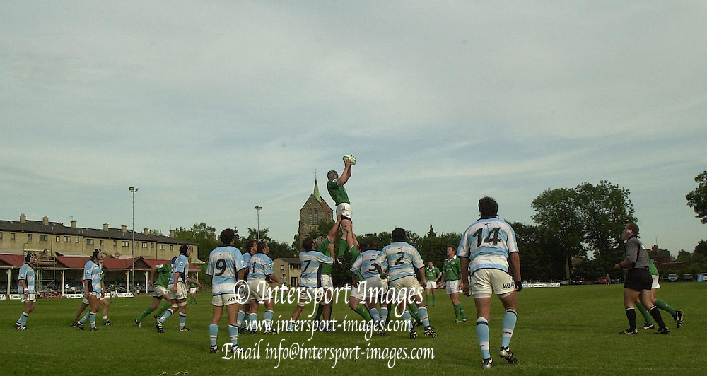 © Peter Spurrier / intersportimages.email images@intersport-images.com.21/6/03 Photo Peter Spurrier.Imber Court - Esher - Surrey.IRB U21 Rugby World Cup - Iffley Road - Oxford .Agentina v Ireland.ireland win thir line out..