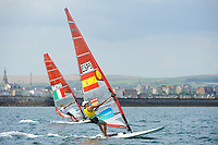 Marina Alabau (ESP), RS:X women's windsurfer, Sailing Olympic Test Event, Weymouth, England, Photo by: Peter Llewellyn