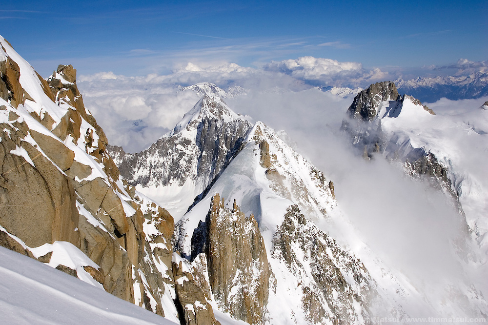 Les Courtes from the summit of Les Droites, Chamonix, France.