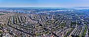 Nederland, Noord-Holland, Gemeente Amsterdam; 02-09-2020;  Panorama van de stad, met grachtengordel, gezien vanaf het Museumplein, richting Centraal Station, IJ en Amsterdam-Noord. Door het extreem heldere weer zijn ook landelijk Noord en Waterland goed zichtbaar. IJsselmeer aan de verre horizon. Fotomontage.<br /> Panorama of Amsterdam, with belt of canals, as seen from the Museumplein, towards Central Station, IJ and Amsterdam-Noord. Due to the extremely clear weather, rural North and Waterland are also clearly visible. IJsselmeer on the distant horizon. Photo montage. <br /> luchtfoto (minumumprijs € 250);<br /> aerial photo (additional fee required)<br /> copyright © 2020 foto/photo Siebe Swart